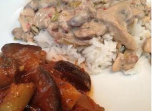 Gemarineerde champignons en groentenstoofpotje